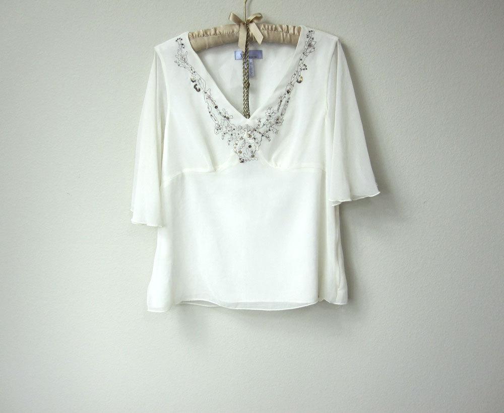 fd44b34293 ... Flowy Boho Gypsy Embellished and Embroidered Chiffon Short Sleeve Sheer White  Blouse
