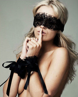 Sexy Lingerie Black Lace Blindfold & Handcuffs Set