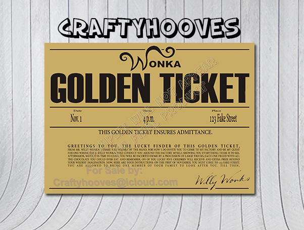 Willy Wonka And The Chocolate Factory Golden Ticket Birthday Party Invitations U Print Custom