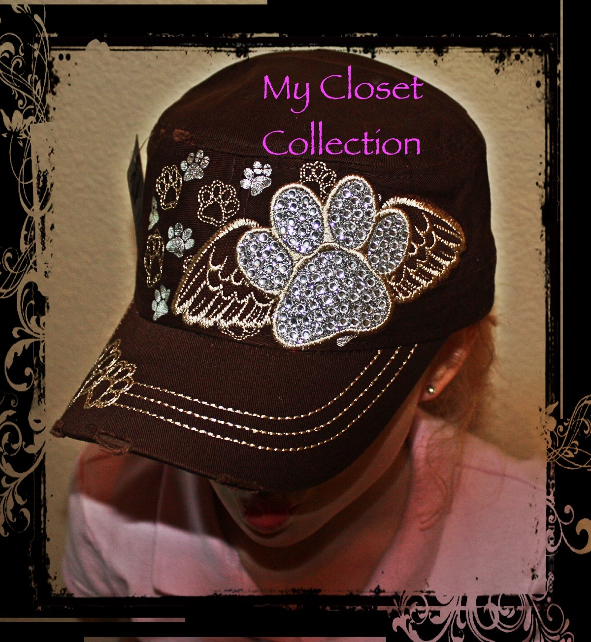 9717ff667bc ... Cadet hat with rhinestone paw print and wings - Thumbnail 3 ...