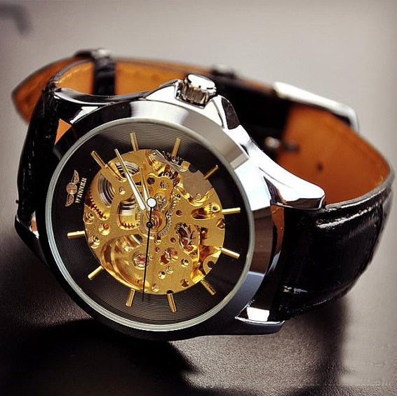 Mens watches vintage watches handmade watches leather band watches chain hollow out mechanical for Leather watch for men