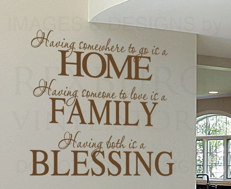 Having Somewhere To Go Is A Home Vinyl Wall Art Decal Family Quote. 23  : family wall decal - www.pureclipart.com