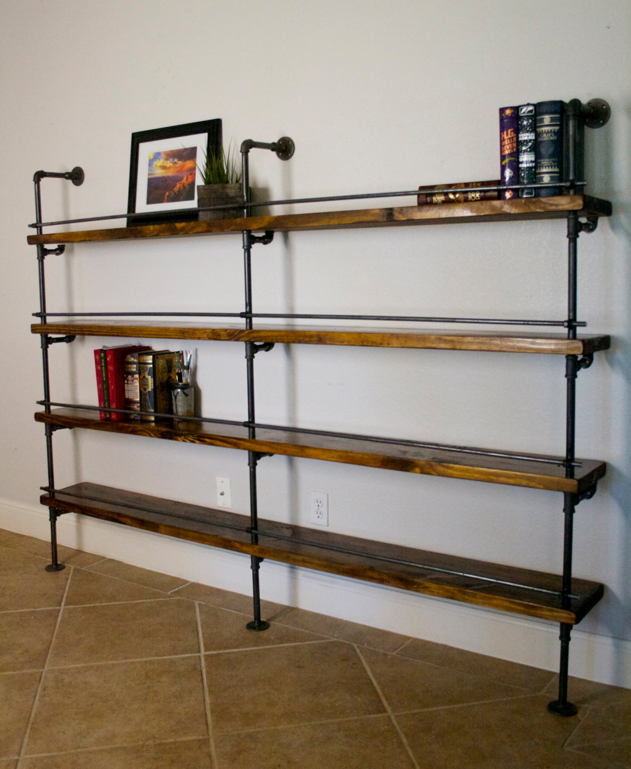 industrial shelving unit industrial bar industrial bookcase industrial bookshelves pipe. Black Bedroom Furniture Sets. Home Design Ideas