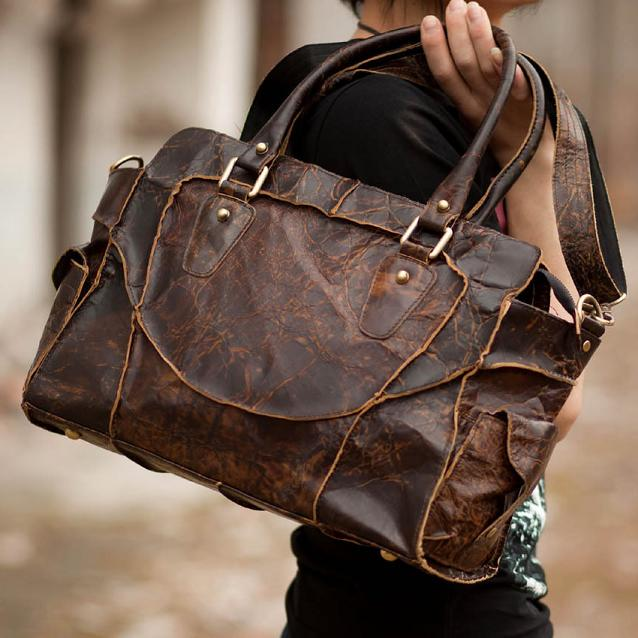 Vintage Handmade Antique Cow Leather Women's Handbag / Purse / Shoulder Bag / Messenger Bag #m11-3 (30278506) photo