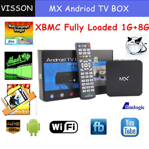In stock ! XBMC Fully Loaded Vsmart G-box mx2 Android TV box Amlogic  8726-MX Dual core 1 5GHz 1GB +8GB mx M6 midnight tv box from 12platinum