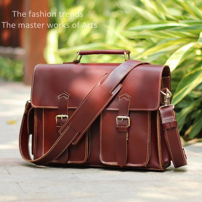 Handmade Leather Messenger Bag   Leather Briefcase   Leather Satchel   13