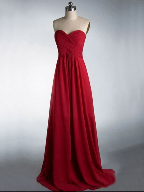Sweet Heart Bridesmaid Dress Simple Burgundy Prom Dress