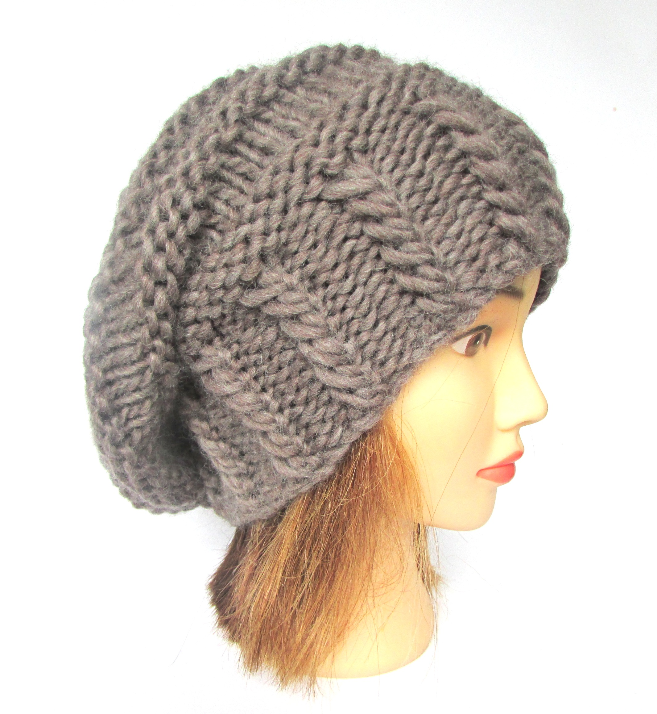 Slouchy beanie hat taupe slouch hat chunky knit slouchy hat Irish ... 8187560938