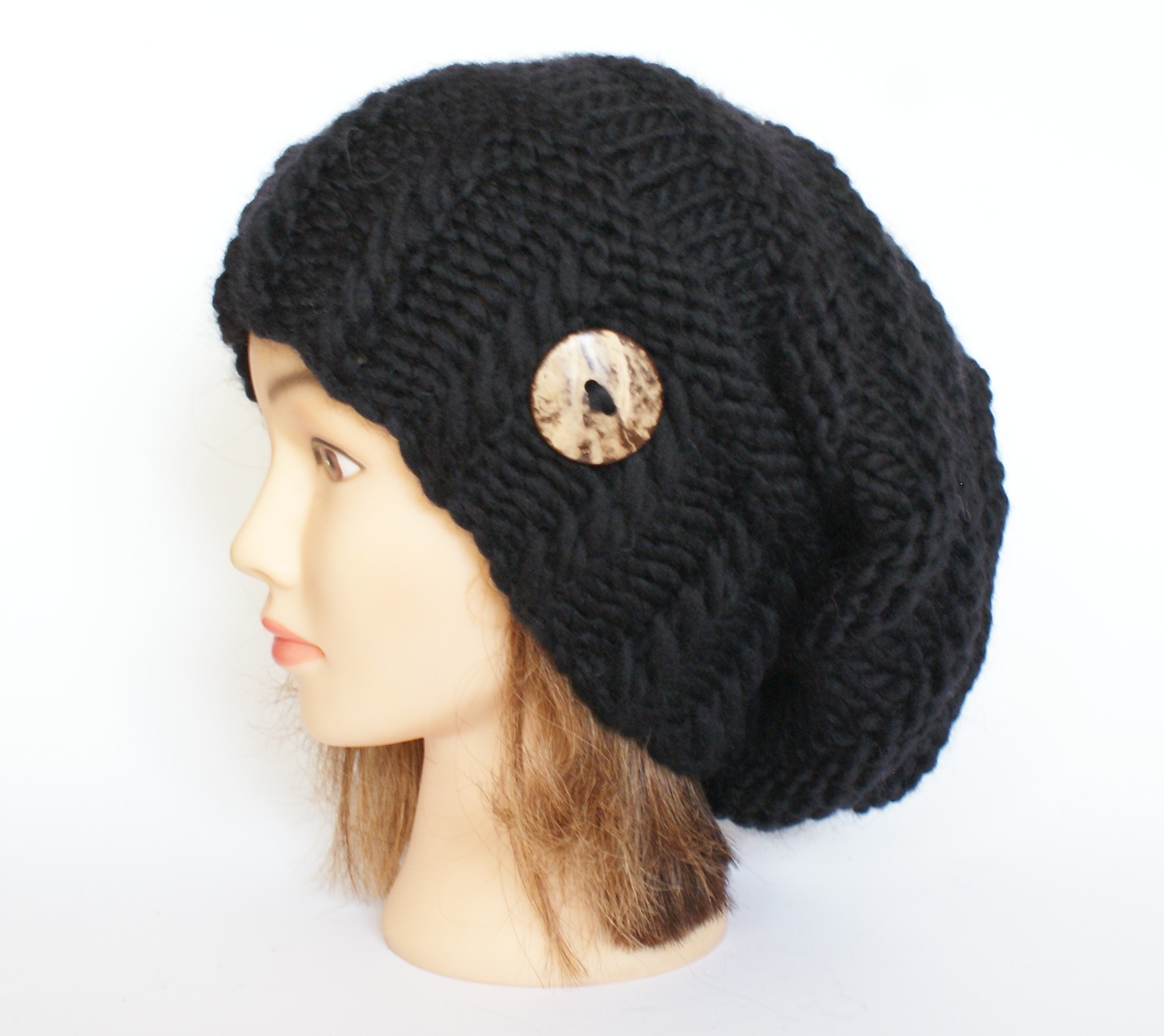 5f8ca08e Irish handknit slouchy beanie hat for women - womens slouch hat with ...