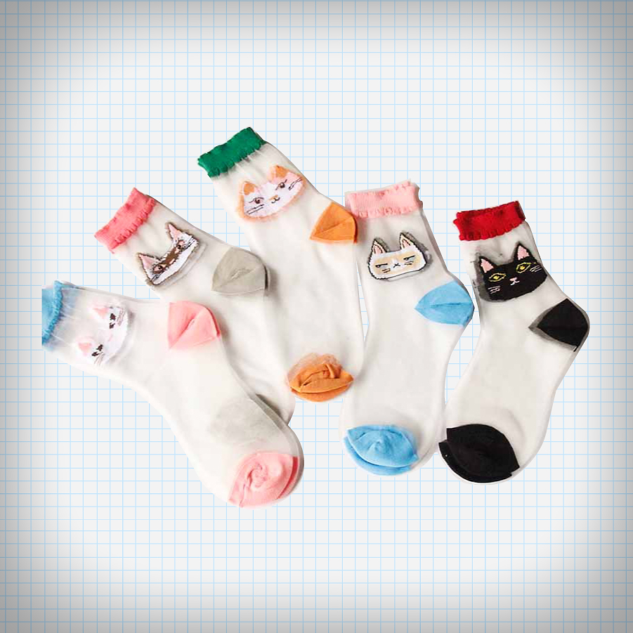 Sheer embroidered cat face socks