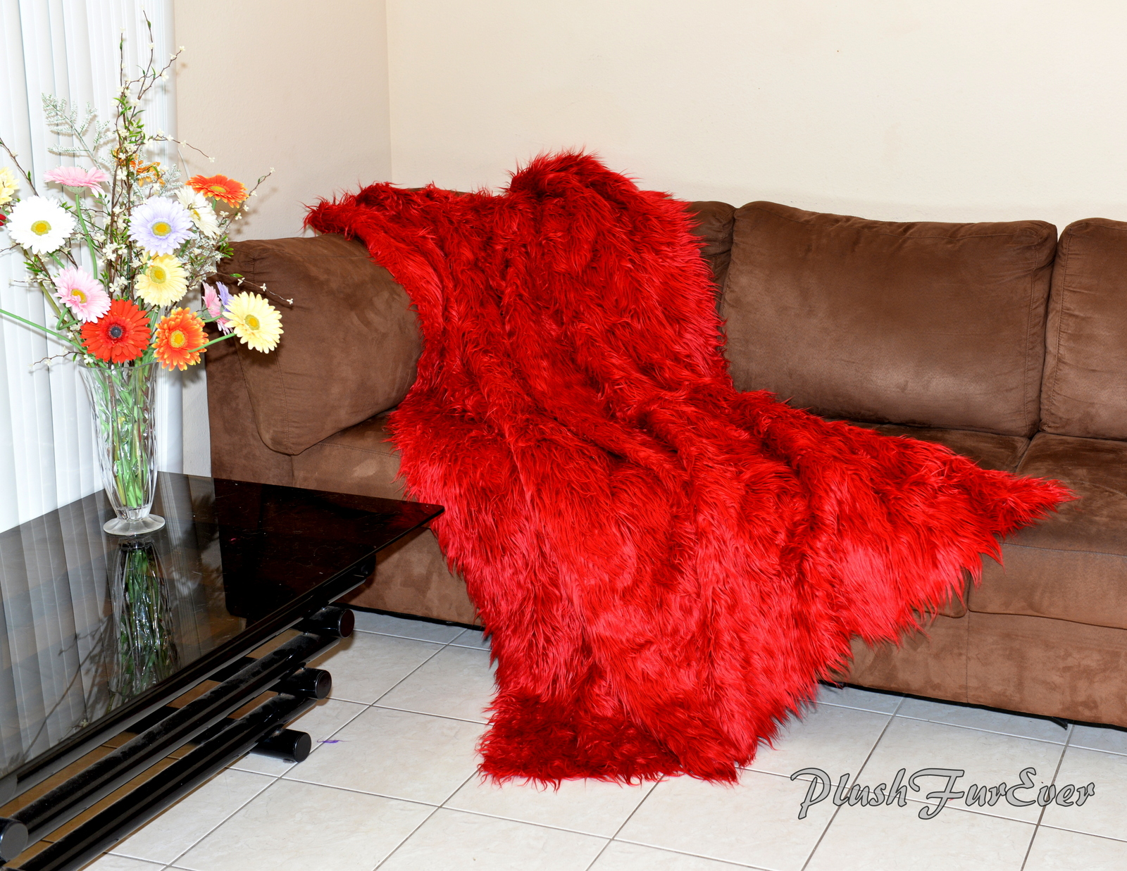 Red Mongolian Faux Fur Throws Comforters Blankets Couch Sofa Bedroom  Nursery Accent Luxurious Decor Mink Back Fake Acrylics Furs sold by  PlushFurEver
