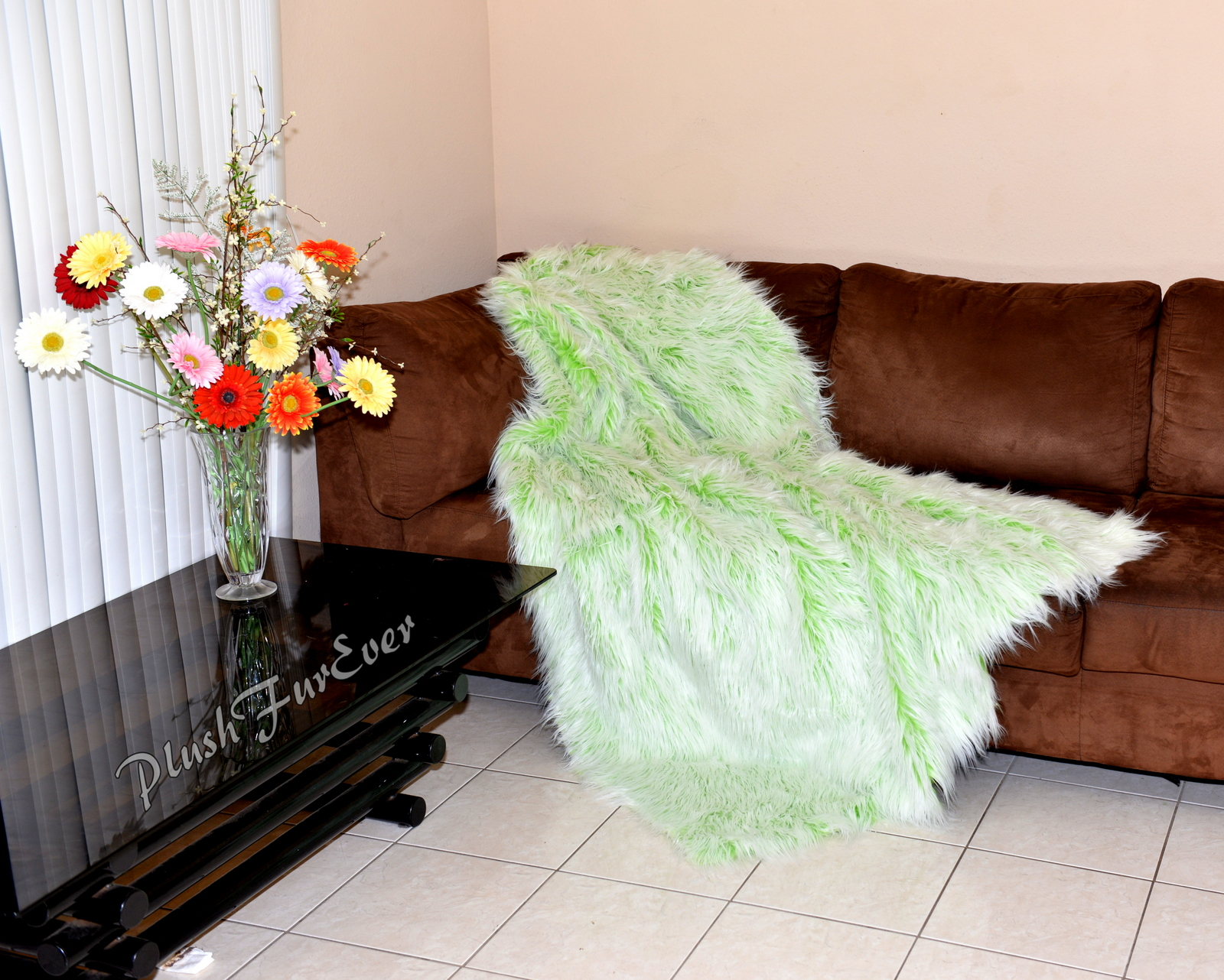 Long Luxurious Faux Fur Comforters Green White Mongolian Blanket Sofa  Throws Rectangle Hand Made in USA