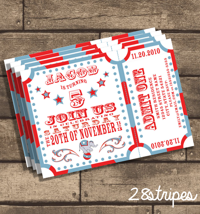 Circus Carnival Themed - Birthday Party Invitation on Storenvy