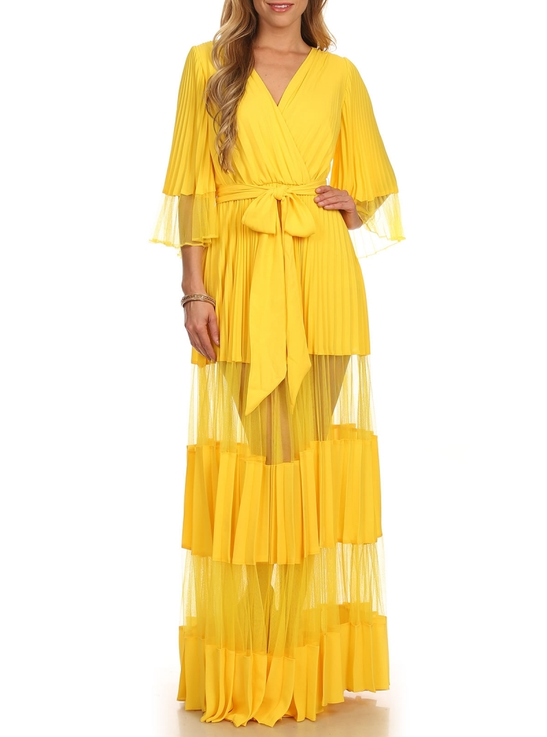 Kimono Sleeve Wrap Dress Yellow Sold By Stylo Clothing And Shoes On Storenvy