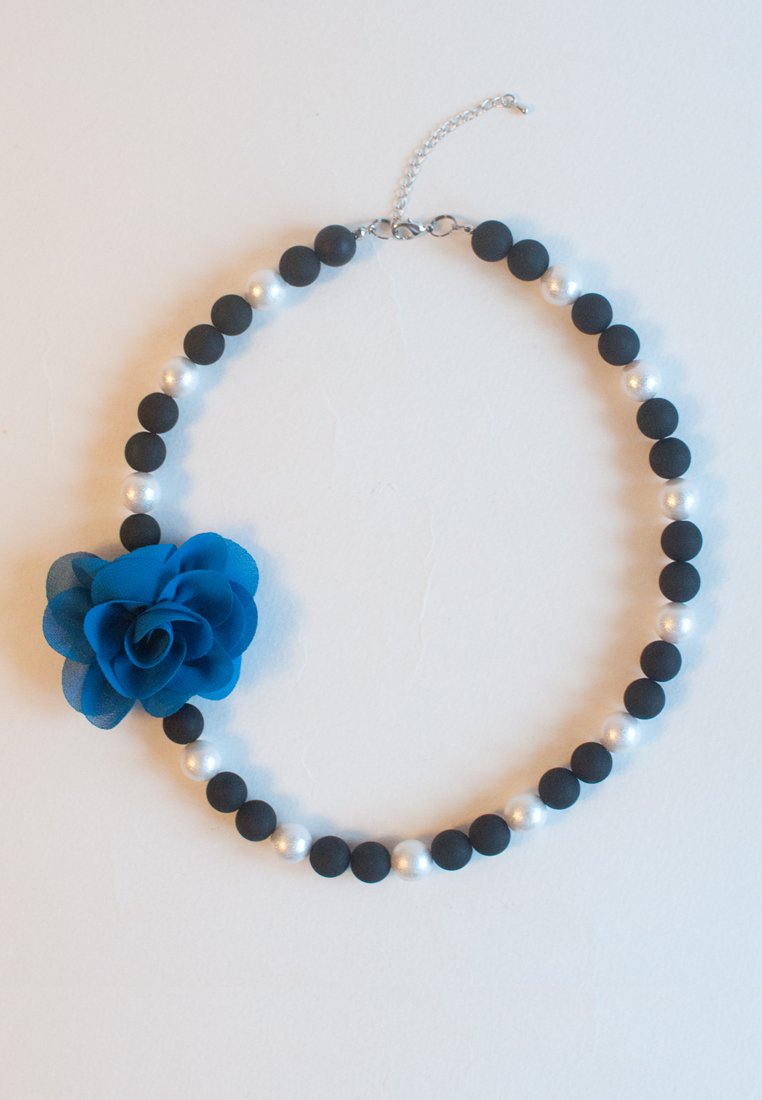 Japanese Cotton Pearls Blue Silk Flower Necklace Nl0905 On Storenvy