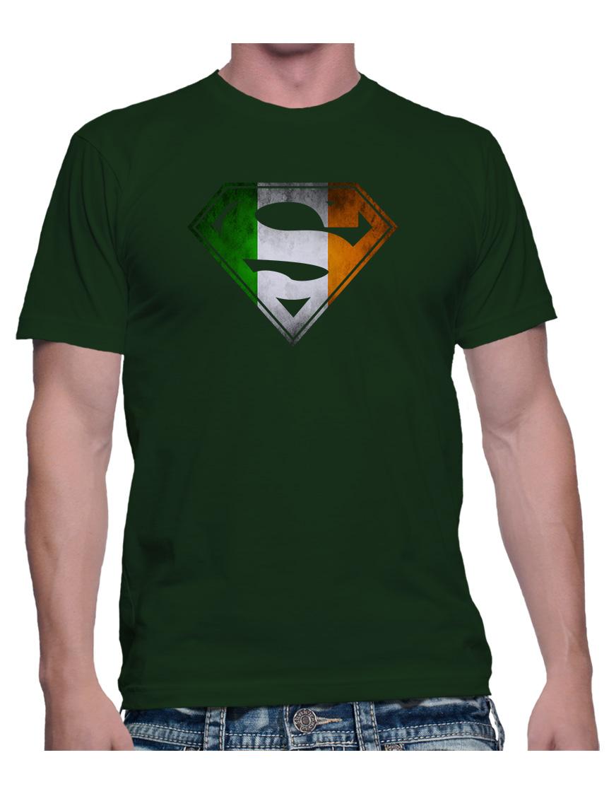 58226f90 Adult Ireland Flag in Superman Shield T-shirt tee • Irish DC Comics ...