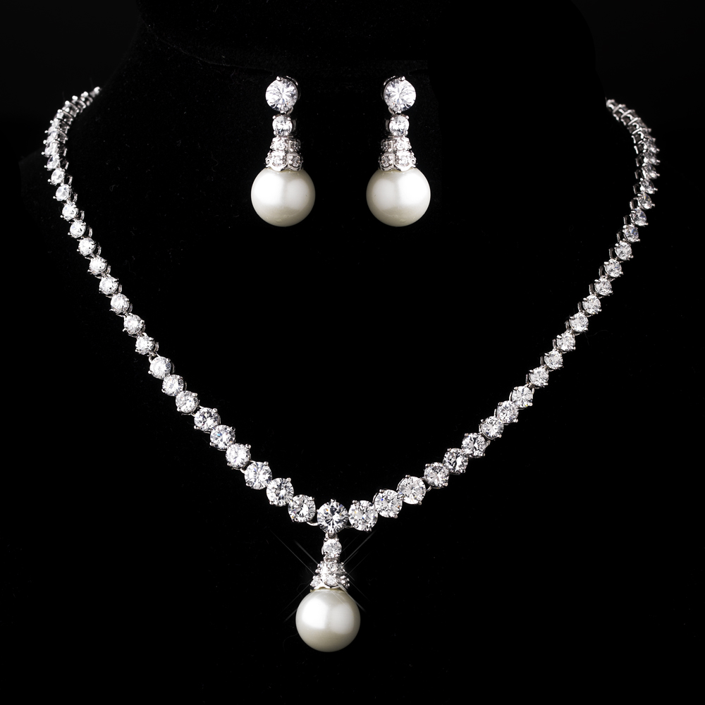 f971962e73df7 Silver Diamond White Pearl Necklace and Earring Set