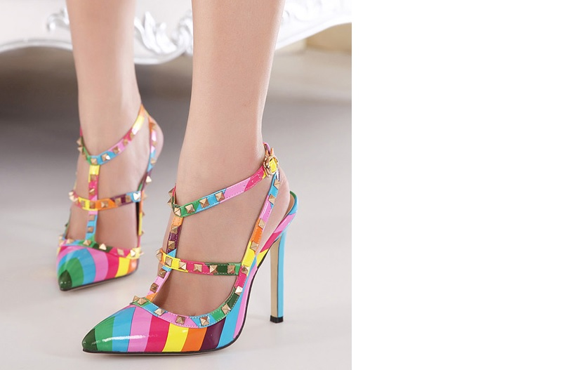 a6ed34b7211a Women's Rainbow Pumps Pointed Rivet Sandals Valentine Leather high heel  Shoes - Thumbnail ...