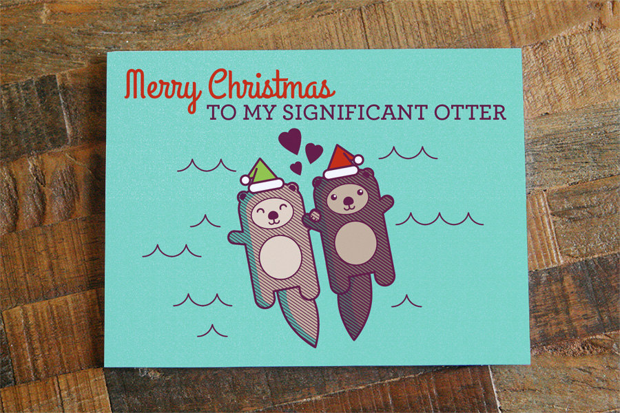 Cute Christmas Card for Significant Other - Otter Pun Card, Holiday ...