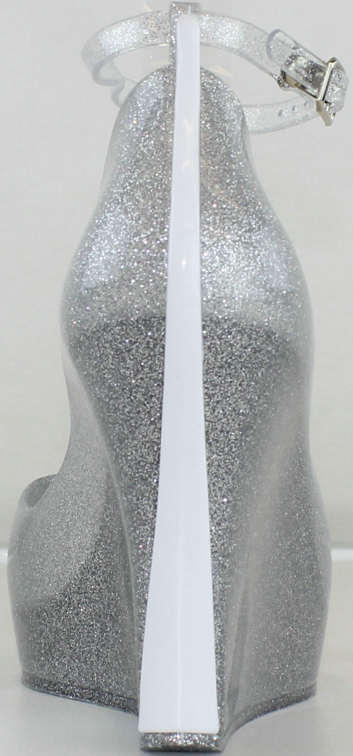 13d097ee2bf ... sz 8 silver clear jelly glitter almond peep toe wedge heels shoes -  Thumbnail 3