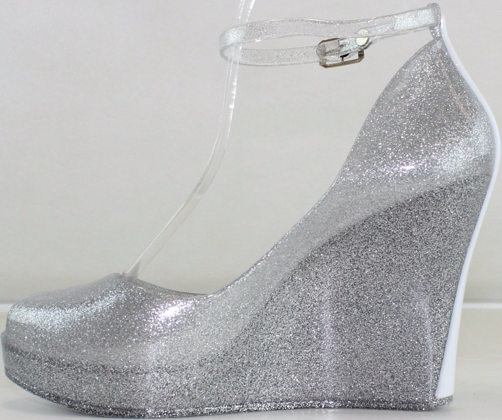 e9ee5bf48c6 Jelly heels toe pointed peep shoes original · Silver jelly glitter shoes  small
