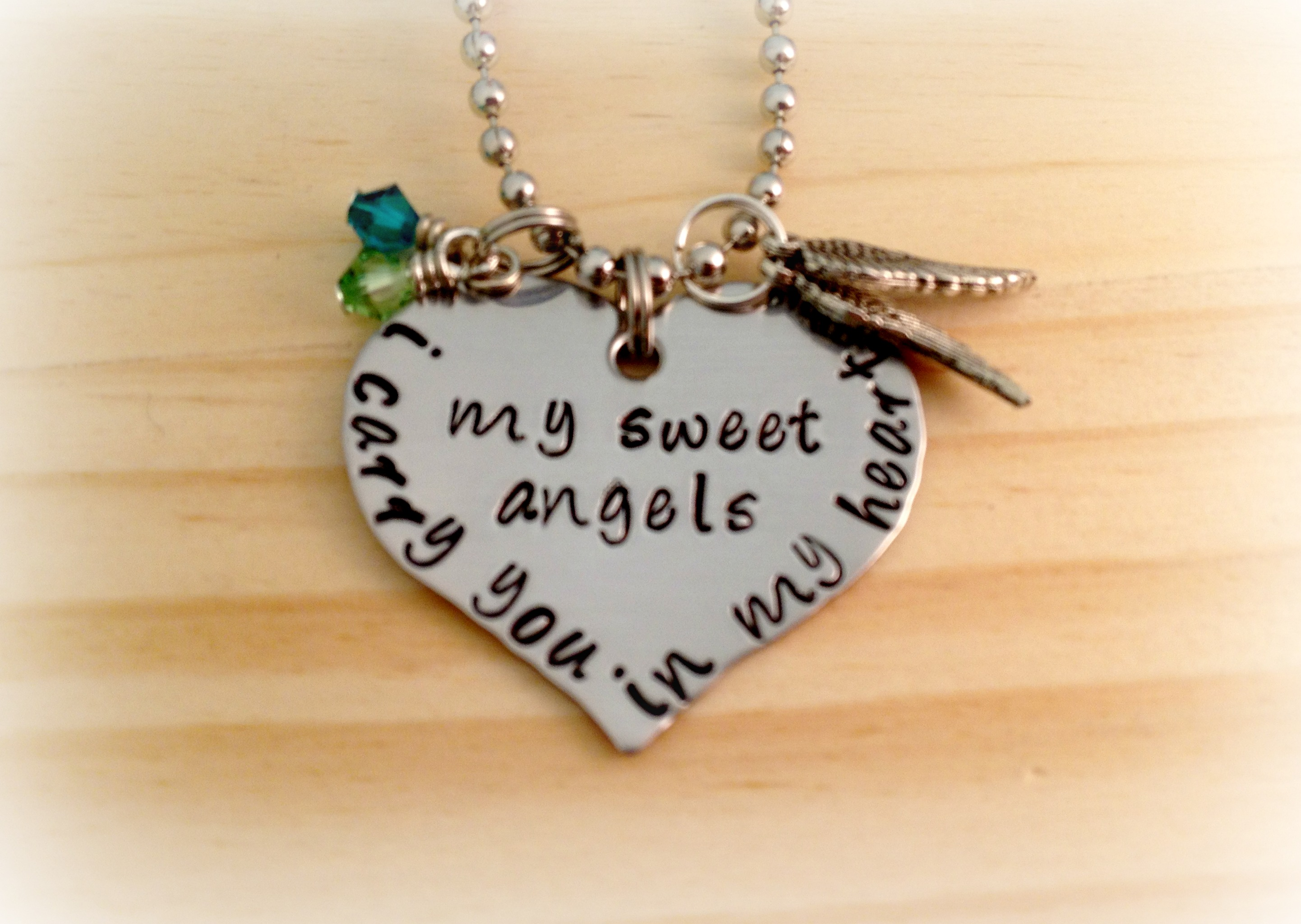 Image of Beautiful Hand Stamped I Carry You In My Heart My Sweet Angel or Angels Heart Necklace Loss Of Twins Miscarriage