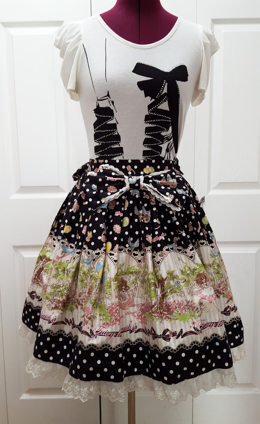 bcd6b6d75b199 XS-S pastel pink blue black goth polka-dot bird forest print swing lolita