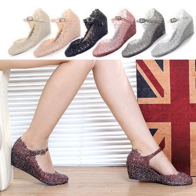 6fab871dd575 Sz 6 to 7.5 black white pink silver mary jane glitter jelly wedges heels  almond toe