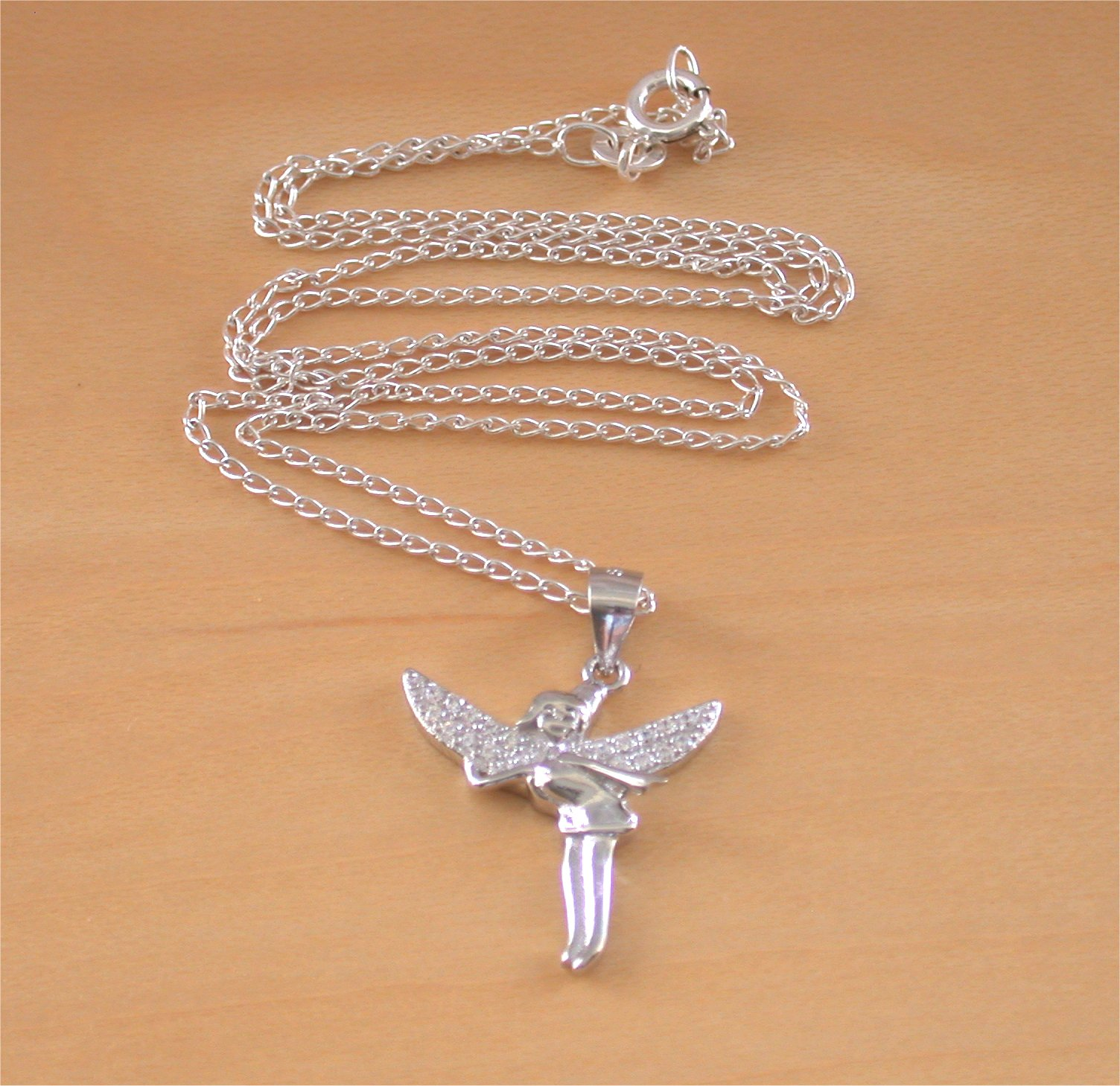 925 fairy wings pendant 18 sterling silver chainfairy jewellery fairynecklace small aloadofball Image collections