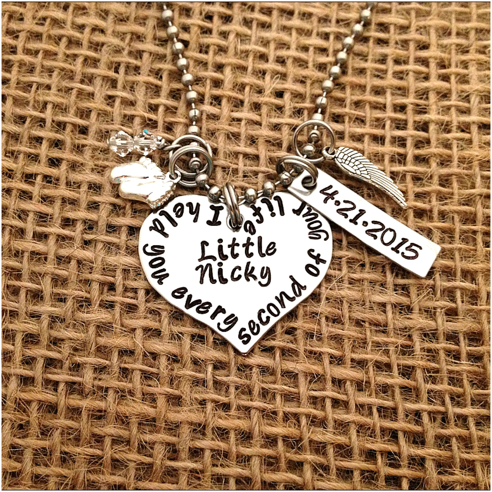 Image of Custom Hand Stamped Heart Necklace I Held You Every Second Of Your Life Miscarriage or Memory Jewelry