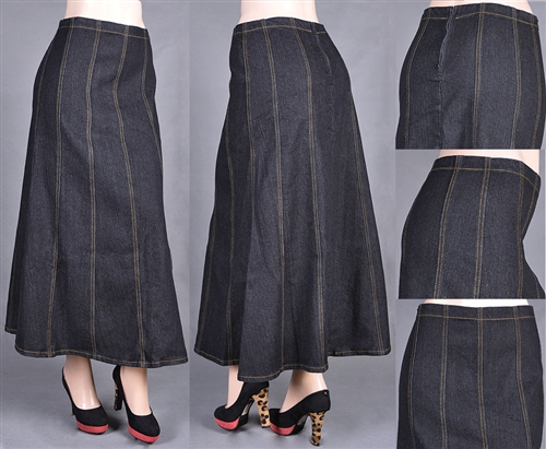 f927b1ea5c GORED STYLE MODEST LONG JEAN SKIRT BLACK · See-More Jean Skirts ...