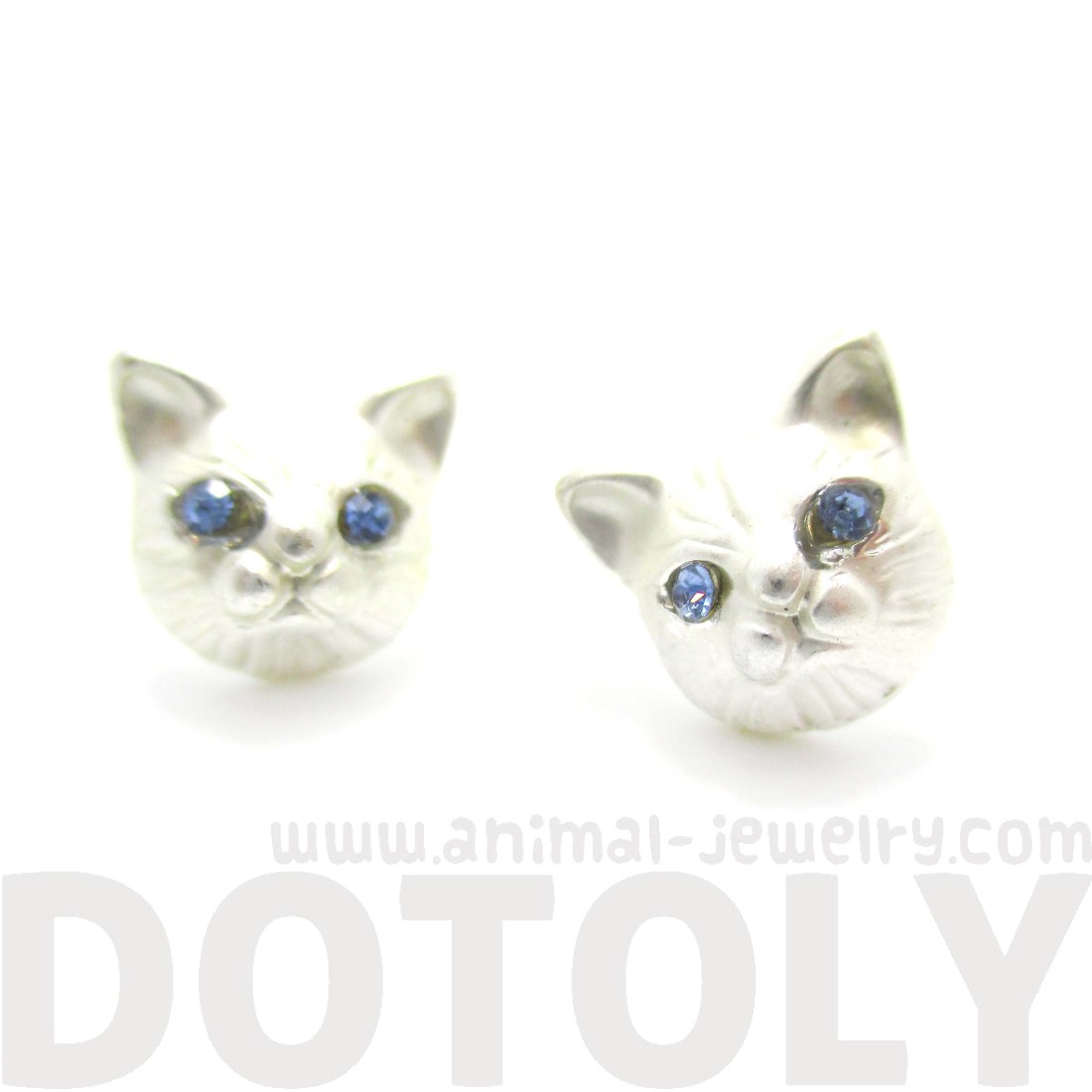 3d Kitty Cat Animal Head Shaped Stud Earrings In Silver