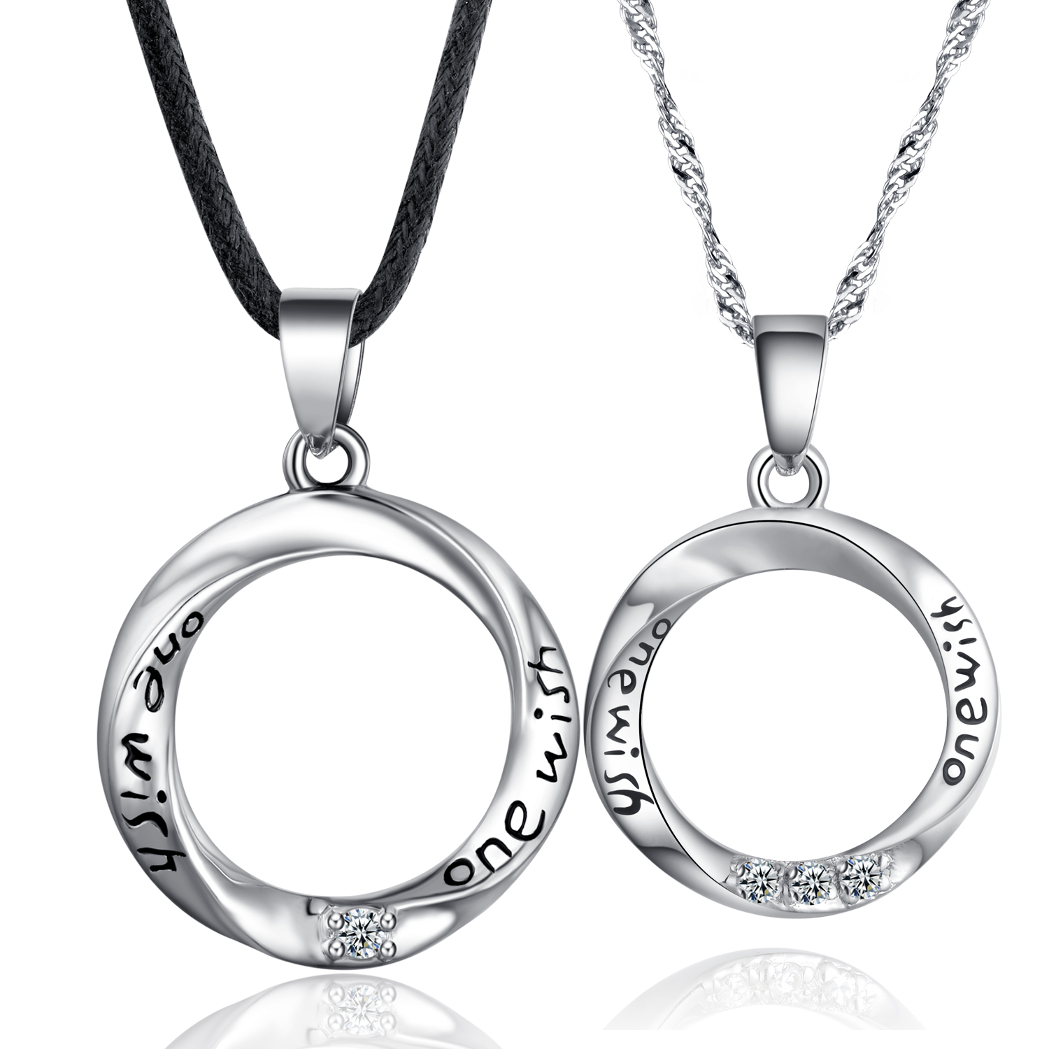 ed0bc475f17 Google Chicute Sterling Couple Round Pendant Necklace Jewelry Sets Engraved  One Wish And Black Cord And