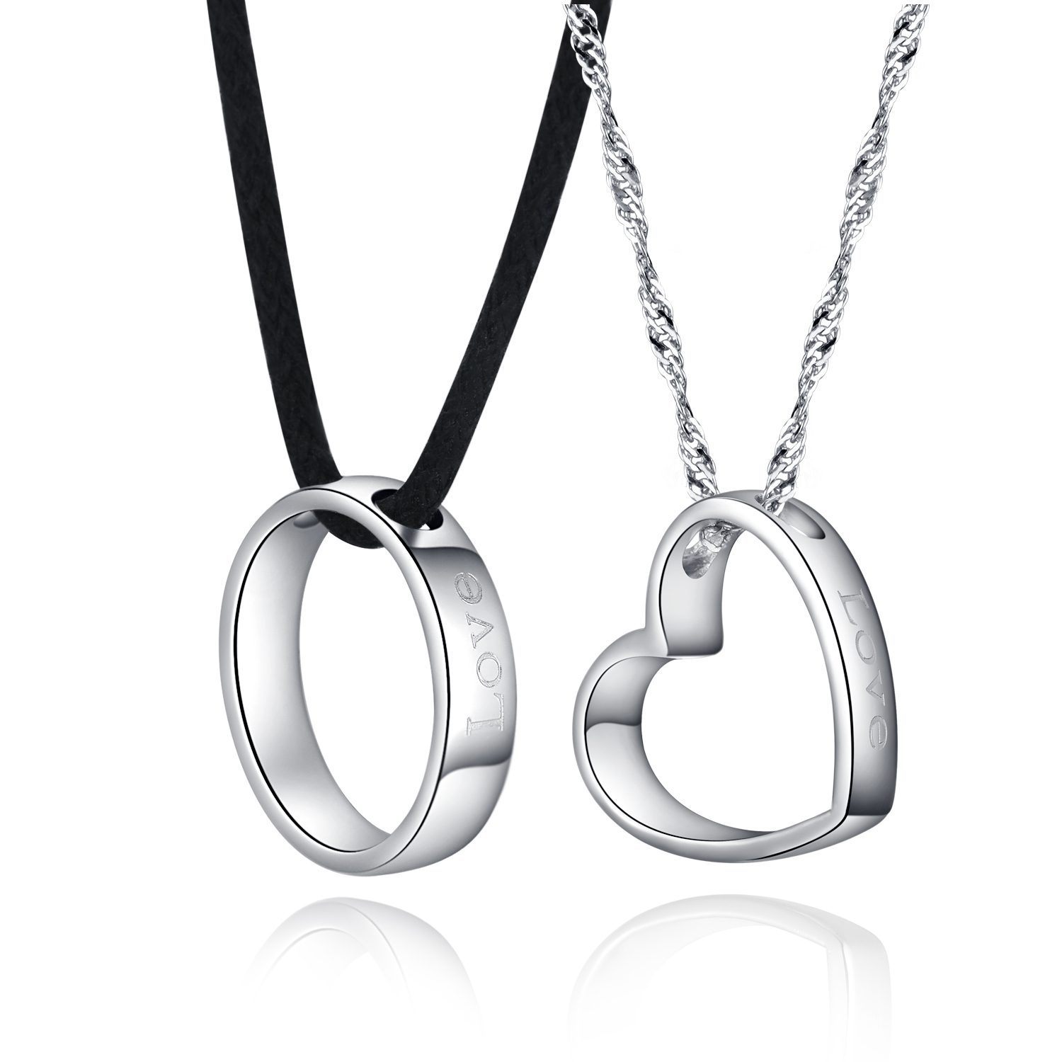 925 Sterling Couple Lovers Round Heart Pendants Necklaces ...