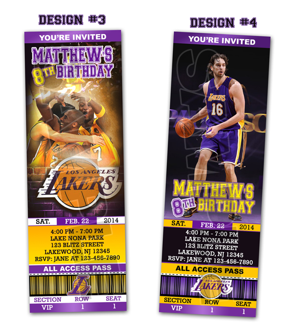 photograph relating to Lakers Schedule Printable known as LA Lakers Ticket Birthday bash invites - Printable