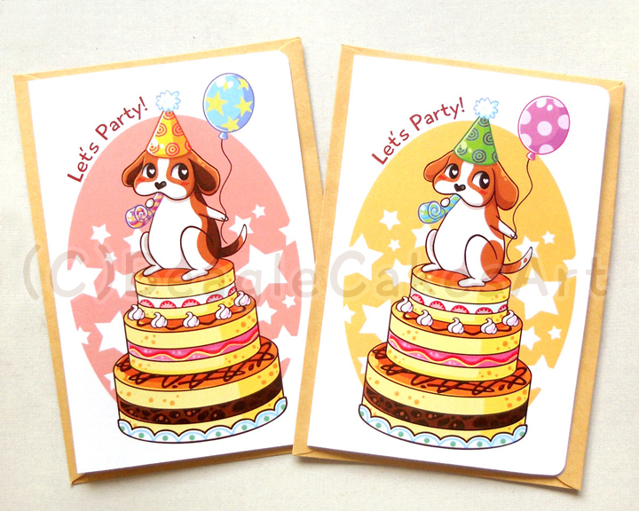 Cute Beagle Happy Birthday Notecard Cute Dog Card Kids Birthday
