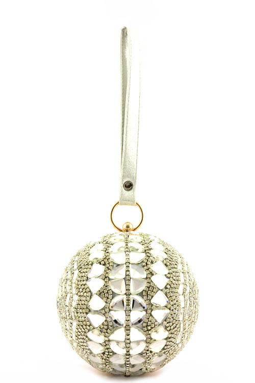 Crystal Studded Bridal Ball Purse - Gold Black Silver (34369089 Curvy Brides) photo