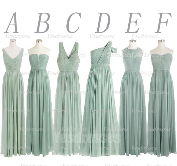 mismatched green bridesmaid dresses