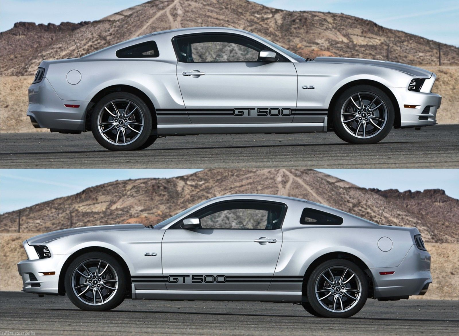 Ssk067 ford mustang shelby gt 500 racing car stripes v6 v8 kit sticker v3