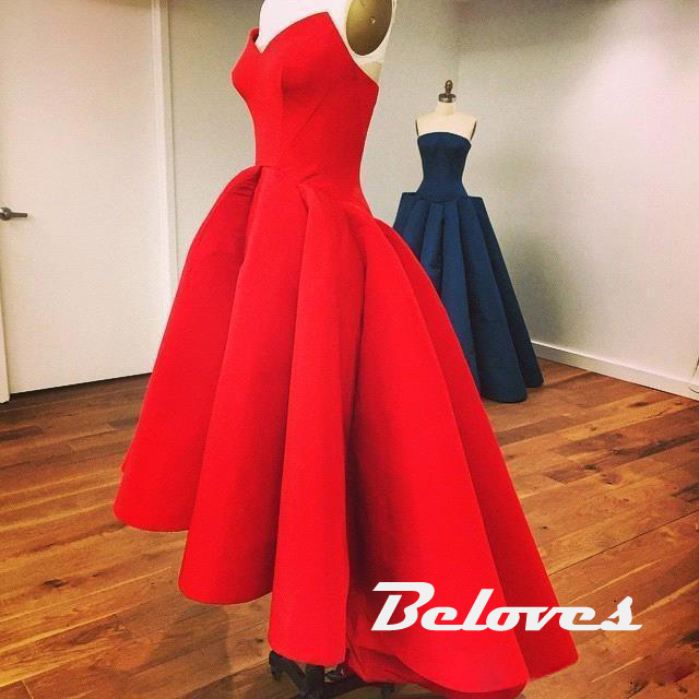 3701c9e2112 Red Satin Sweetheart High Low Tea Length Prom Gown · Beloves ...