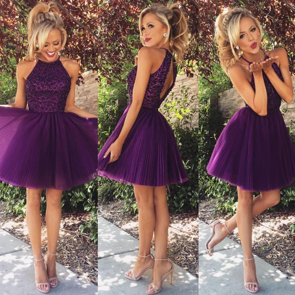 short homecoming dress, purple prom dress,