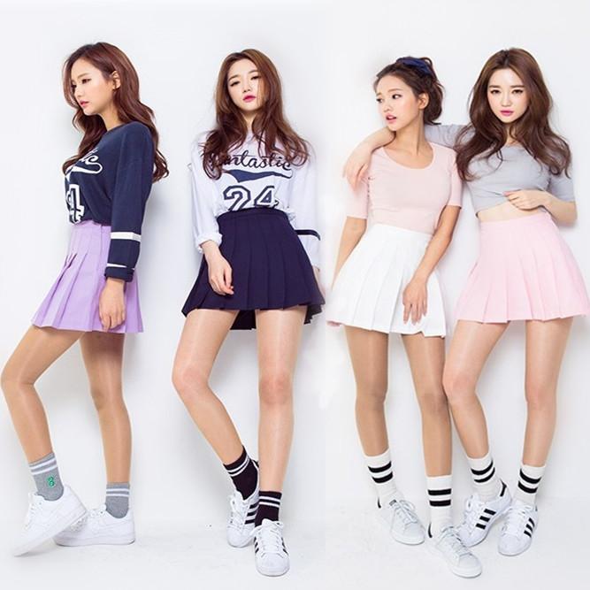 3565d749f2 Korean girls style High Waist Pleated Skirt