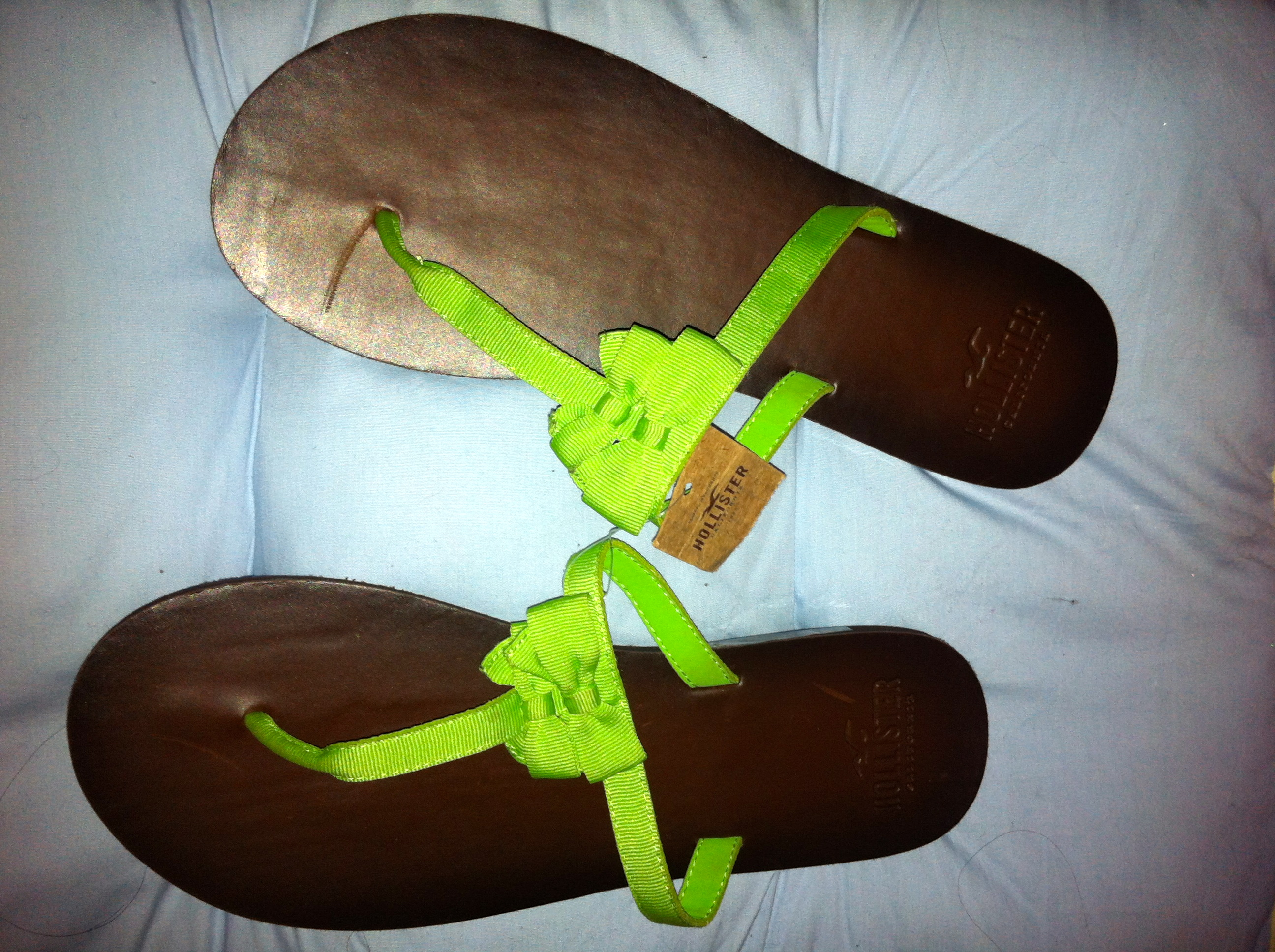 09a0f4e94 Hollister by Abercrombie Fitch Women Leather Flip Flop Green M 8 9 -  Thumbnail ...