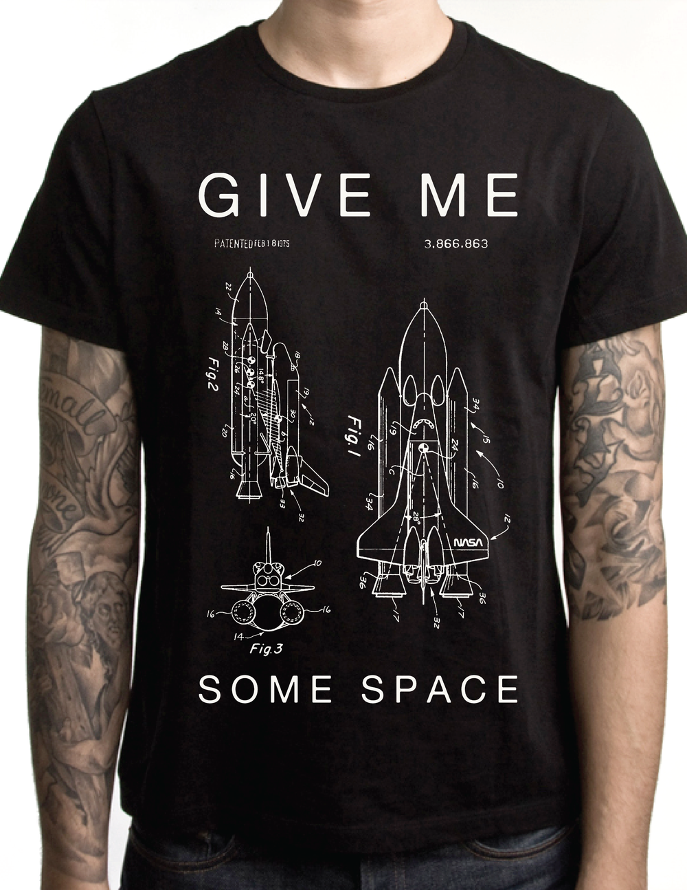 a725134a Give Me Some Space Shuttle NASA Patent Schematic Unisex / Men's ...