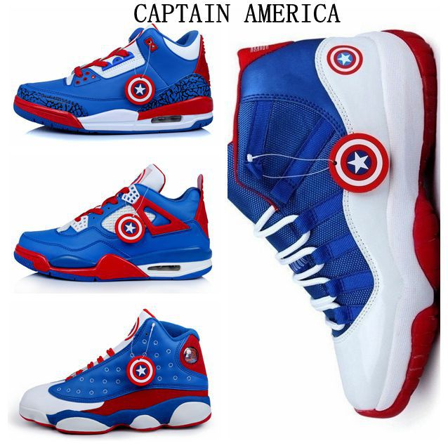 Captain America Mens Basketball Shoes Jordans Pair Sneakers , 4 Styles  /Style 1 sold by Shop Everything,West Hollywood