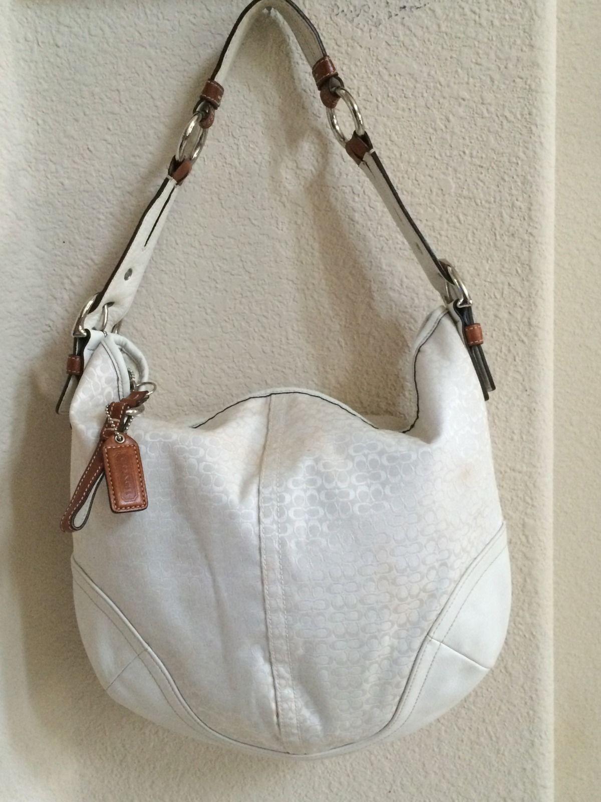 Authentic Coach mini Signature C White (off) & Genuine Tan leather Handbag/Purse ~ Condition Great!!! (22991253 FURBUYSPLUS TOO!!) photo