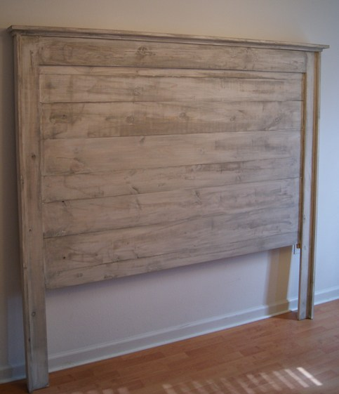 Headboard For Queen Bed. Shabby Chic Weathered White