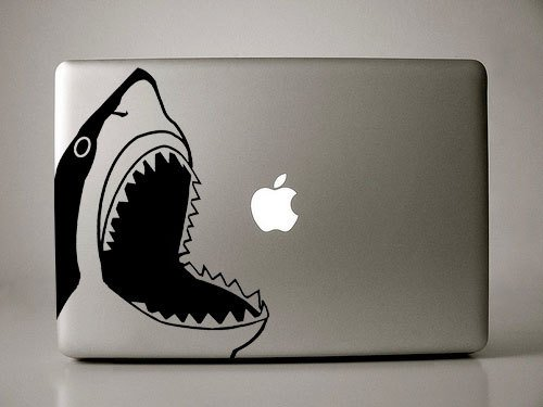 Thadius the Great White Shark Jumping Out of Water Decal for Macbook,  Laptops, or Car Window from Ivy Bee Designs