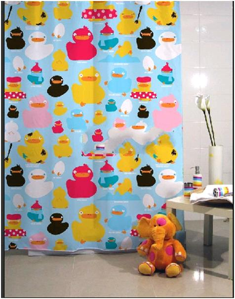 Image of 1.8x1.8m Colorful Duckling Design Bathroom Shower Use SHOWER CURTAIN with HOOK