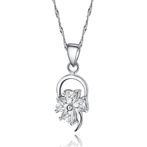 Genuine 925 Sterling Silver Flower Pendant Necklace Paved